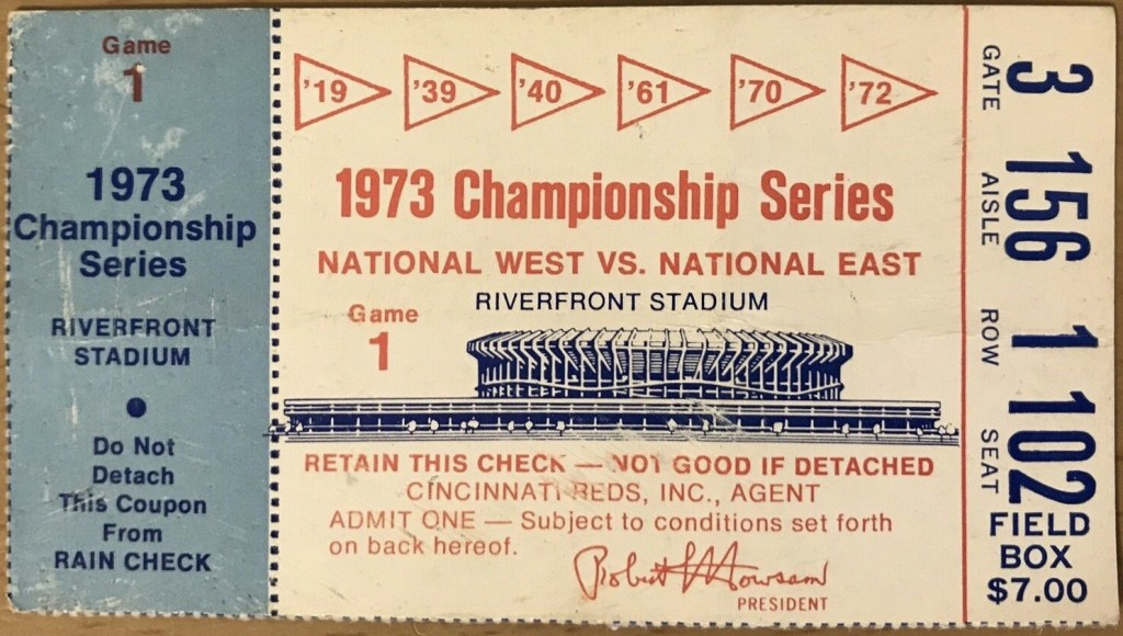 1973 NLCS Game 1 ticket stub Reds Mets