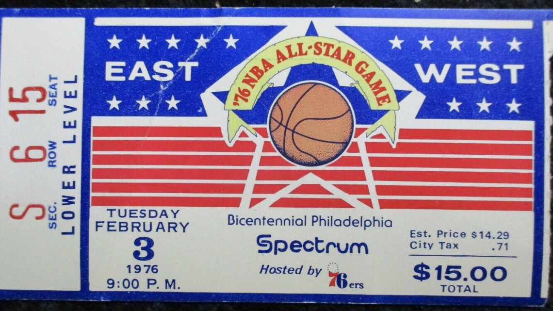 1976 NBA All Star Game ticket stub Philadelphia