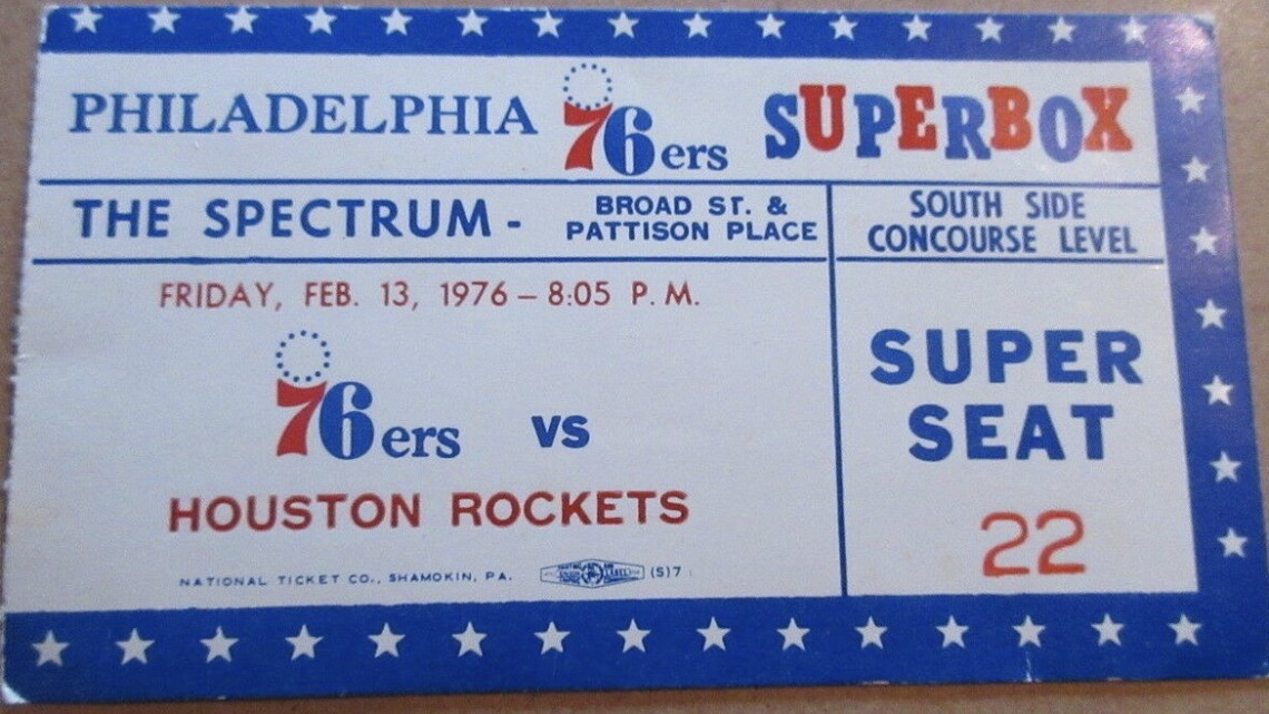 1976 Philadelphia 76ers Superbox ticket stub vs Houston