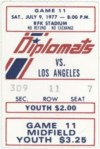 1977 NASL Washington Diplomats ticket stub vs Los Angeles