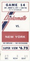 1977 NASL Washington Diplomats ticket stub vs New York Cosmos