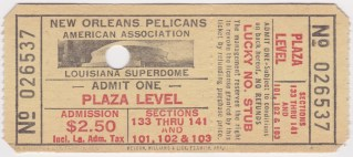 1977 New Orleans Pelicans unused ticket