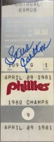 1981 Steve Carlton 3000th Strikeout ticket stub with autograph