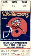 1983 USFL Arizona Wranglers ticket stub vs Michigan Panthers