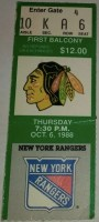 1988 Jeremy Roenick NHL Debut Ticket Stub