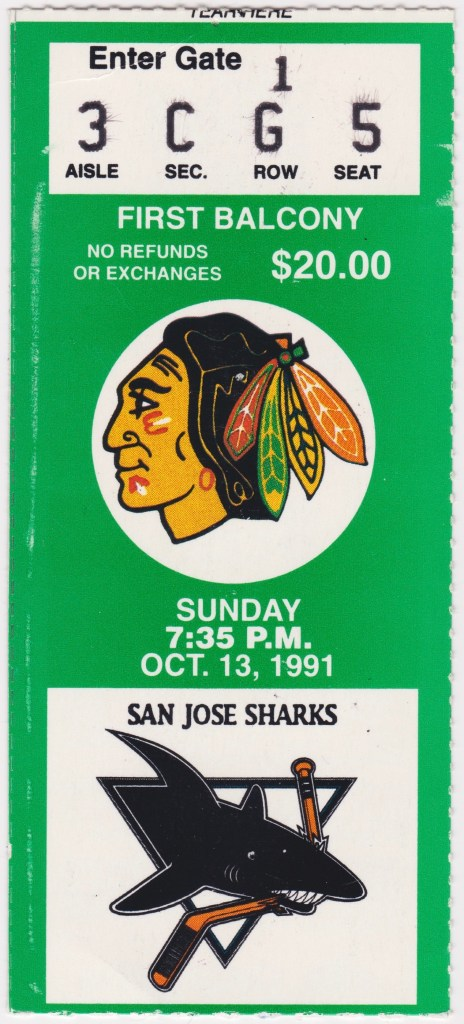 1991 Chicago Blackhawks ticket stub vs San Jose
