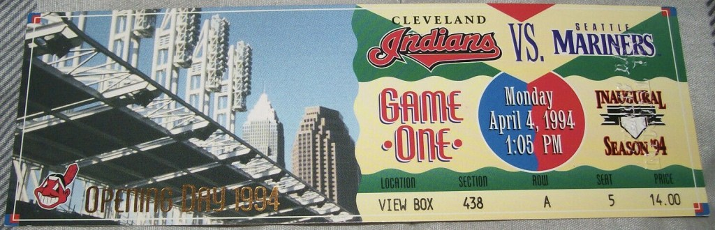 1994 Cleveland Indians Opening Day ticket stub