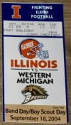 2004 NCAAF Illinois ticket stub vs Western Michigan