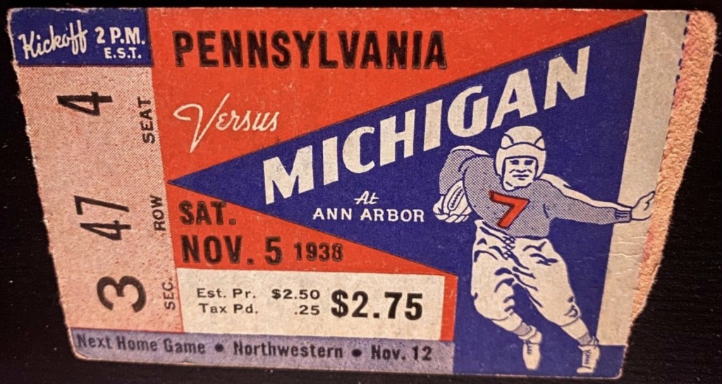 1938 NCAAF Michigan ticket stub vs Penn