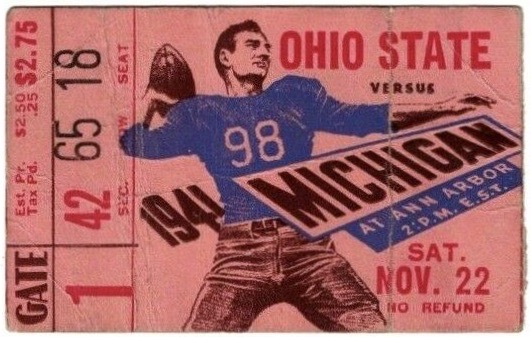 1941 NCAAF Michigan Wolverines ticket stub vs Ohio State