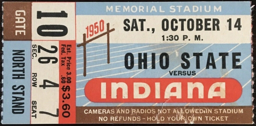 1950 NCAAF Indiana Hoosiers ticket stub vs Ohio State