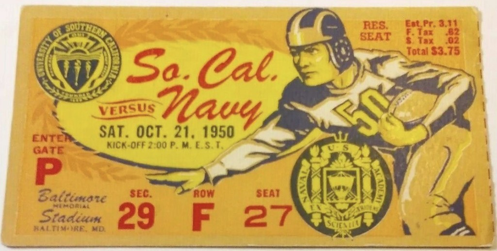 1950 NCAAF Navy ticket stub vs USC