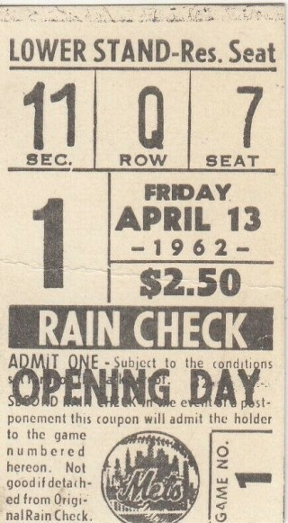 1962 New York Mets Opening Day ticket stub 124