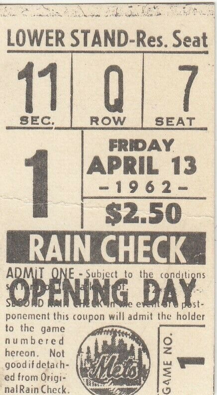 1962 New York Mets Opening Day ticket stub