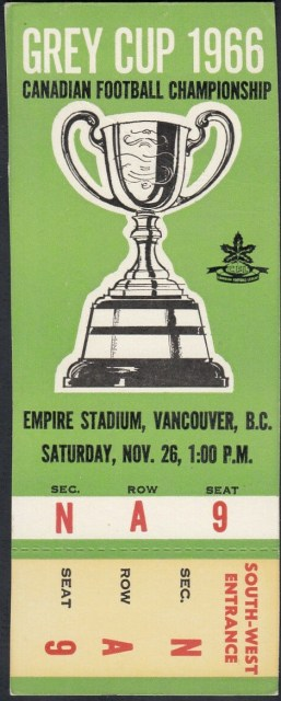 1966 CFL Grey Cup ticket stub Roughriders vs Rough Riders 330