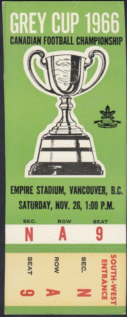 1966 CFL Grey Cup ticket stub Roughriders vs Rough Riders