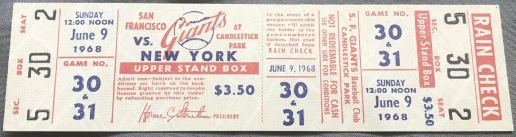1968 Willie Mays Home Run 575 unused ticket