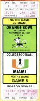 1981 NCAAF Miami Hurricanes unused ticket vs Notre Dame