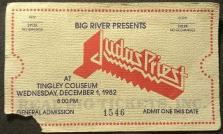 1982 Judas Priest ticket stub Albuquerque 8.27