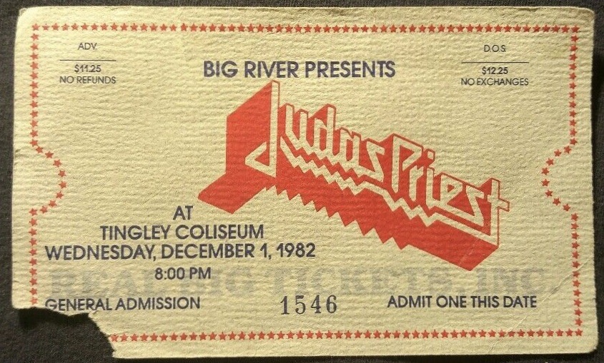 1982 Judas Priest ticket stub Albuquerque