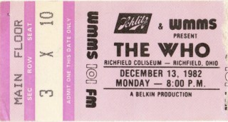 1982 The Who ticket stub Cleveland 13