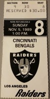 1989 Los Angeles Raiders ticket stub vs Cincinnati