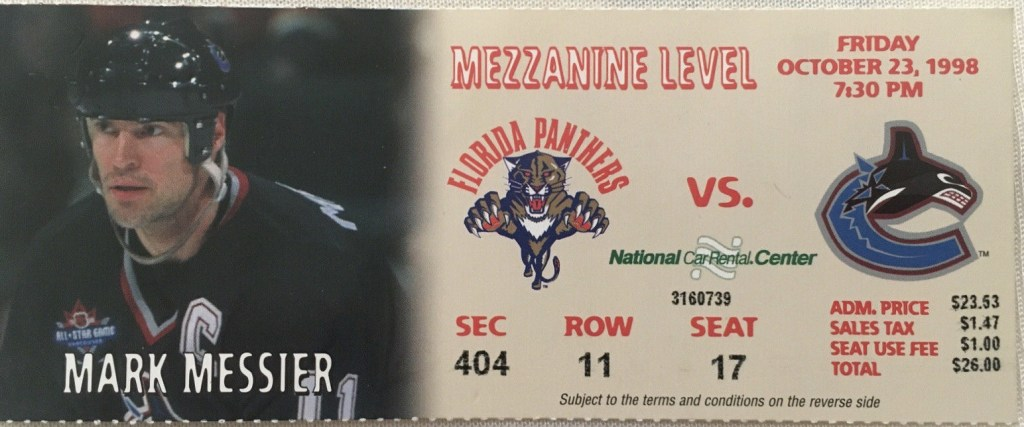 1998 Mark Messier 600th Goal Game Ticket
