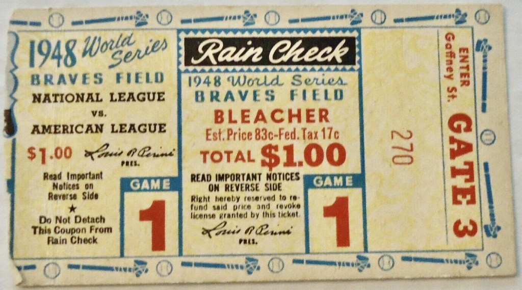 1948 World Series Game 1 ticket stub Indians Braves