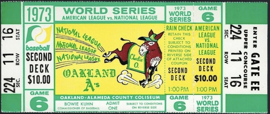 1973 World Series Game 6 full ticket A's vs Mets