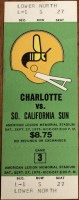 1975 WFL Charlotte Hornets ticket vs Southern California
