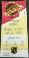 1982 Vancouver Canucks ticket stub vs Edmonton