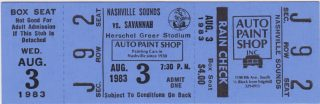 1983 Nashville Sounds ticket stub vs Savannah