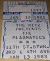 1983 Plasmatics ticket stub Ritz NYC