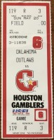 1984 USFL Houston Gamblers ticket vs Oklahoma Outlaws