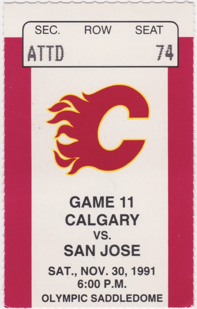 1991 Calgary Flames ticket stub vs San Jose