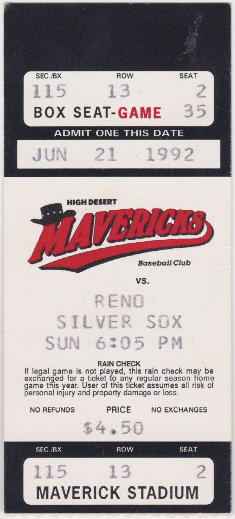1992 High Desert Mavericks ticket stub vs Reno
