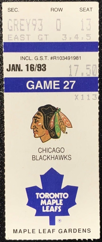 1993 Toronto Maple Leafs ticket stub vs Chicago