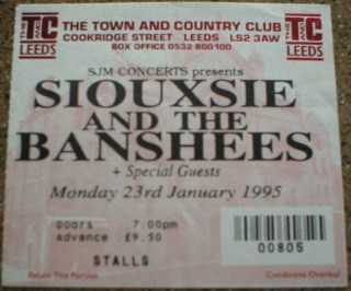 1995 Siouxsie and the Banshees ticket stub Leeds 13