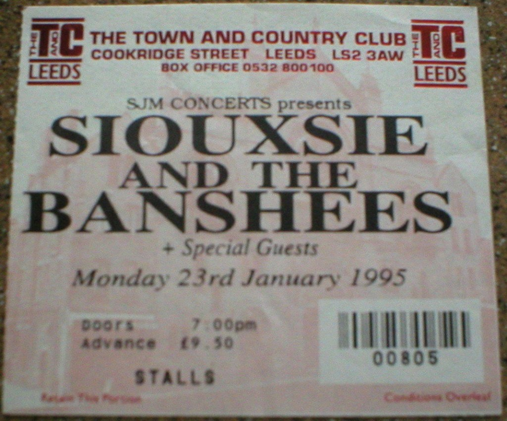 1995 Siouxsie and the Banshees ticket stub Leeds