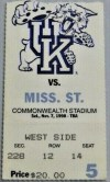 1998 NCAAF Kentucky Wildcats ticket stub vs Mississippi St.