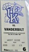 1998 NCAAF Kentucky Wildcats ticket stub vs Vanderbilt