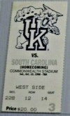 1998 NCAAF Kentucky Wildcats ticket stub vs South Carolina