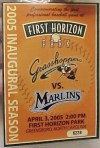 2005 Greensboro Grasshoppers ticket stub vs Marlins