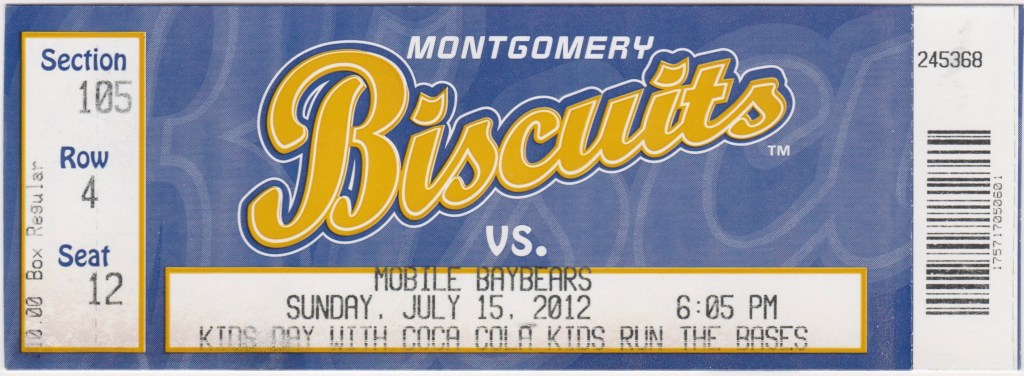 2012 Montgomery Biscuits ticket stub vs Mobile