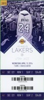 2016 Kobe Bryant Last Game ticket stub