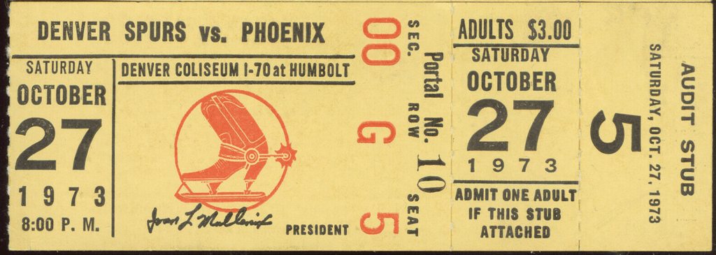 1973 WHL Denver Spurs ticket vs Phoenix Roadrunners