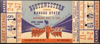 1941 NCAAF Northwestern ticket stub vs Kansas State 13.39