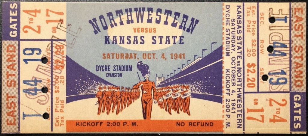 1941 NCAAF Northwestern ticket stub vs Kansas State