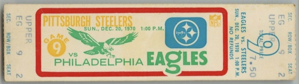1970 Terry Bradshaw First NFL Punt ticket stub