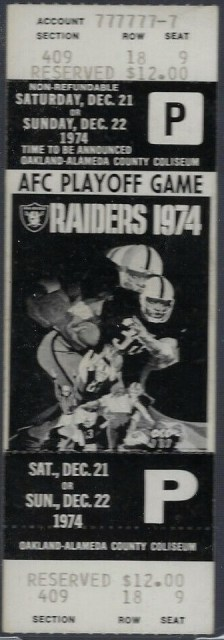 1974 AFC Divisional Game ticket stub Pittsburgh Oakland 159